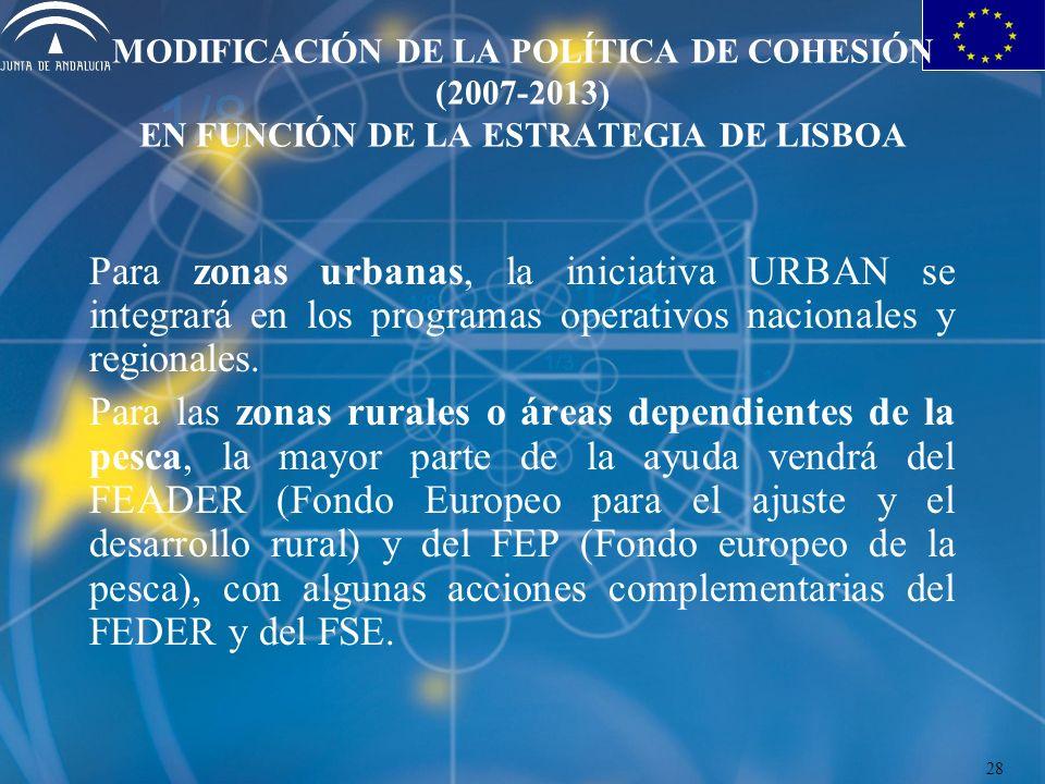 MODIFICACIÓN DE LA POLÍTICA DE COHESIÓN (2007-2013) EN FUNCIÓN DE LA ESTRATEGIA DE LISBOA Para zonas urbanas, la iniciativa URBAN se integrará en los programas operativos nacionales y regionales.