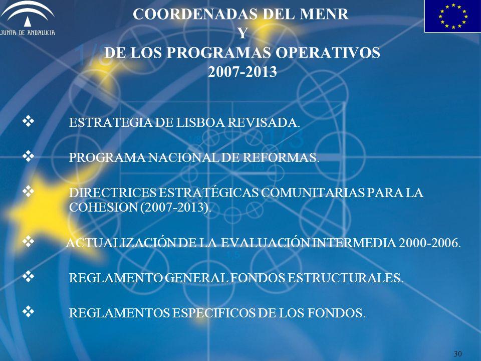 COORDENADAS DEL MENR Y DE LOS PROGRAMAS OPERATIVOS 2007-2013 ESTRATEGIA DE LISBOA REVISADA. PROGRAMA NACIONAL DE REFORMAS. DIRECTRICES ESTRATÉGICAS CO