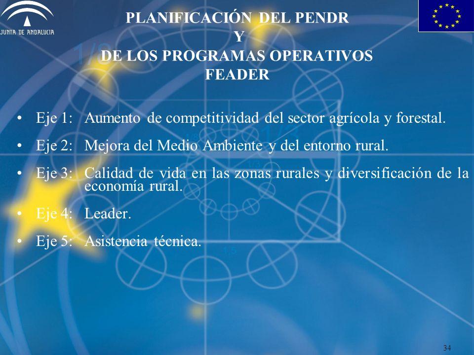 PLANIFICACIÓN DEL PENDR Y DE LOS PROGRAMAS OPERATIVOS FEADER Eje 1:Aumento de competitividad del sector agrícola y forestal. Eje 2:Mejora del Medio Am