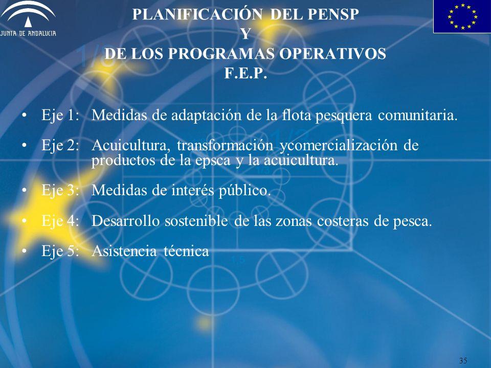 PLANIFICACIÓN DEL PENSP Y DE LOS PROGRAMAS OPERATIVOS F.E.P. Eje 1:Medidas de adaptación de la flota pesquera comunitaria. Eje 2:Acuicultura, transfor
