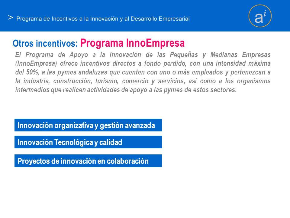 > Otros incentivos: Programa InnoEmpresa El Programa de Apoyo a la Innovación de las Pequeñas y Medianas Empresas (InnoEmpresa) ofrece incentivos dire