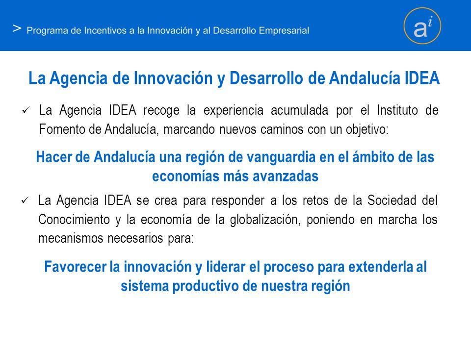 > La Agencia de Innovación y Desarrollo de Andalucía IDEA La Agencia IDEA recoge la experiencia acumulada por el Instituto de Fomento de Andalucía, ma