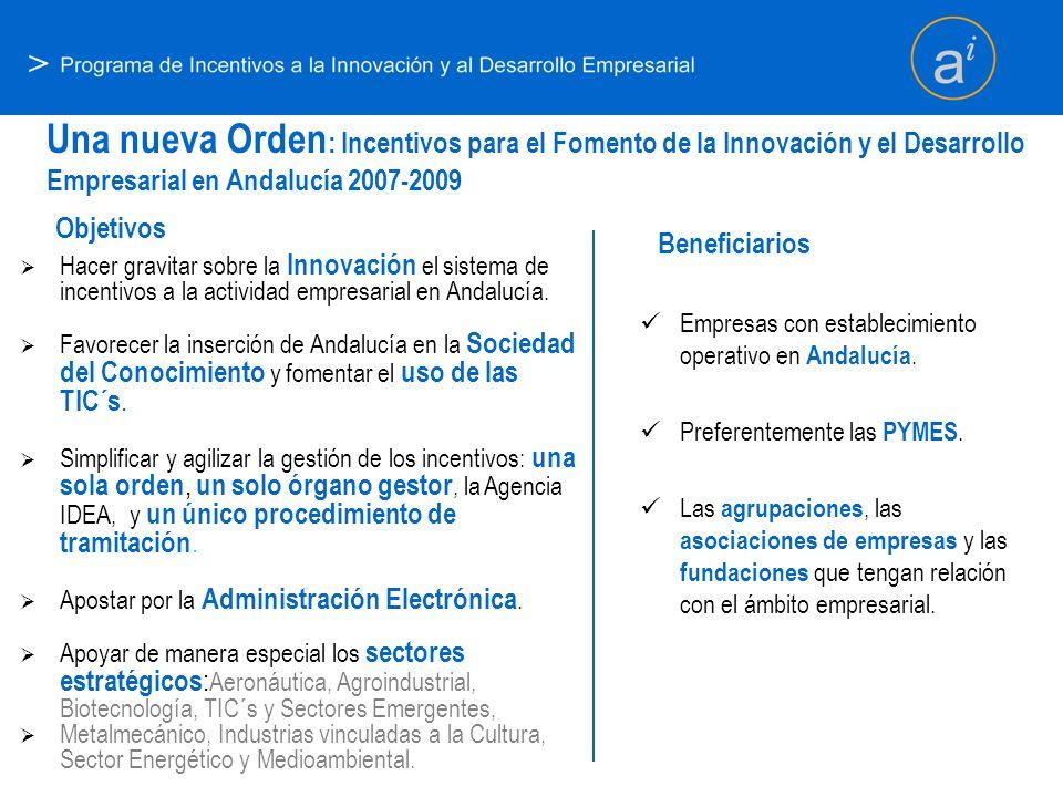 > Hacer gravitar sobre la Innovación el sistema de incentivos a la actividad empresarial en Andalucía. Favorecer la inserción de Andalucía en la Socie