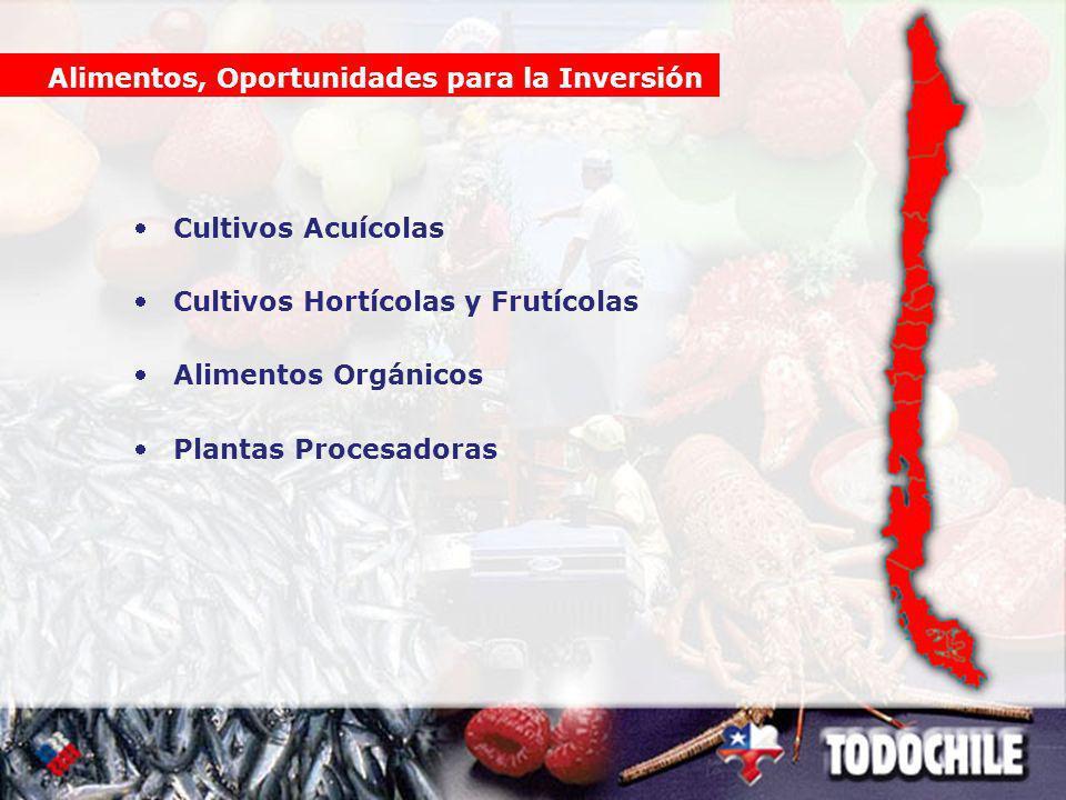 Cultivos Acuícolas Cultivos Hortícolas y Frutícolas Alimentos Orgánicos Plantas Procesadoras Alimentos, Oportunidades para la Inversión