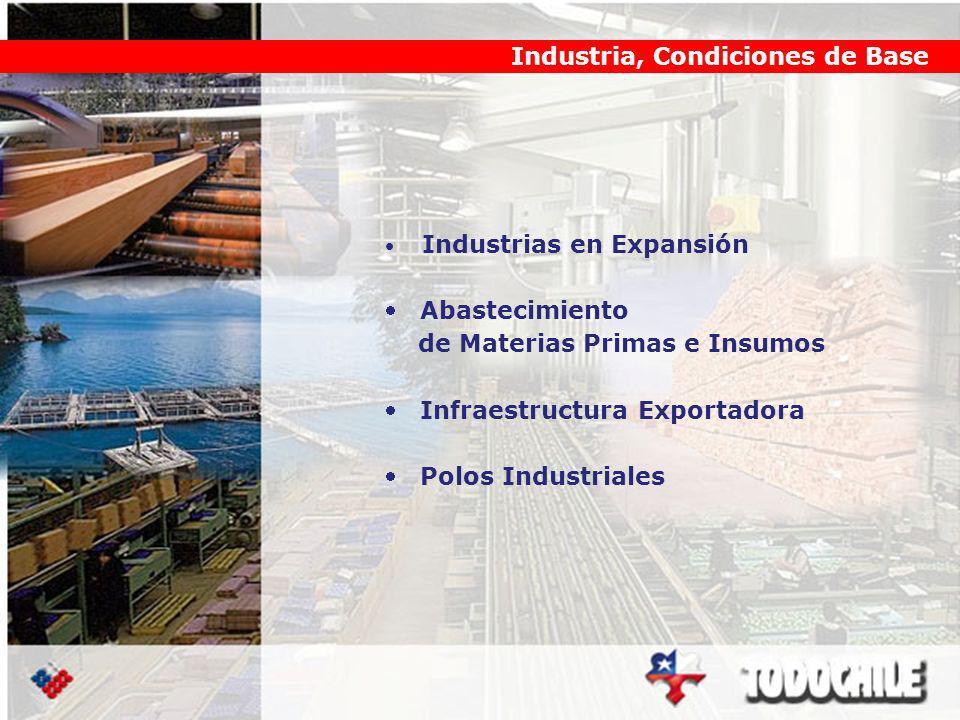 Industria, Condiciones de Base Industrias en Expansión Abastecimiento de Materias Primas e Insumos Infraestructura Exportadora Polos Industriales