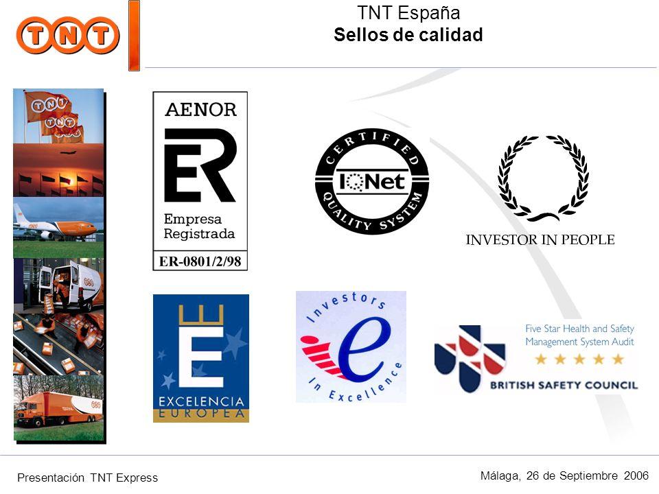 Presentación TNT Express Málaga, 26 de Septiembre 2006 TNT España Sellos de calidad