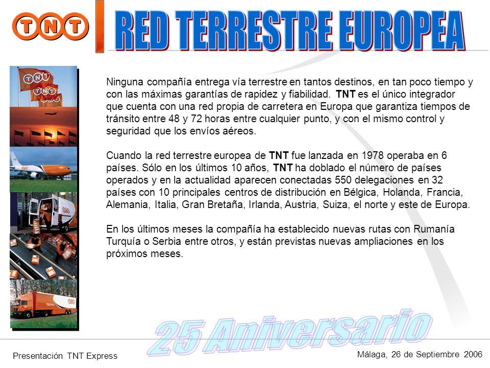 Presentación TNT Express Málaga, 26 de Septiembre 2006 Ninguna compañía entrega vía terrestre en tantos destinos, en tan poco tiempo y con las máximas
