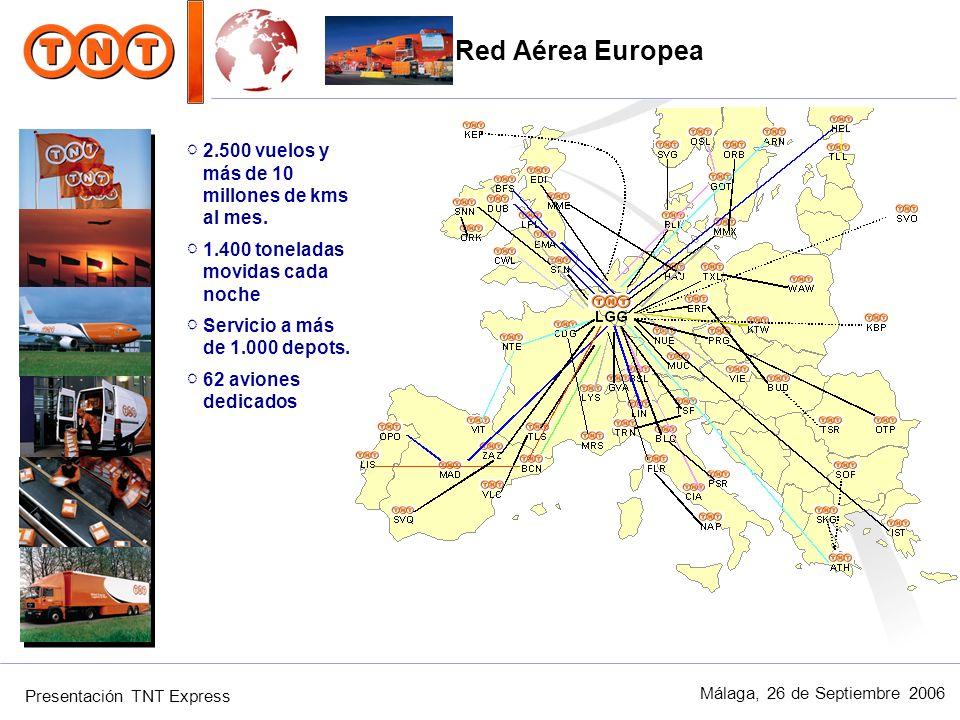 Presentación TNT Express Málaga, 26 de Septiembre 2006 2.500 vuelos y más de 10 millones de kms al mes. 1.400 toneladas movidas cada noche Servicio a