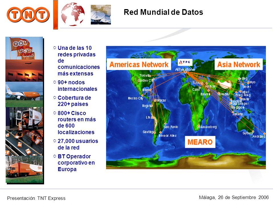 Presentación TNT Express Málaga, 26 de Septiembre 2006 Una de las 10 redes privadas de comunicaciones más extensas 90+ nodos internacionales Cobertura
