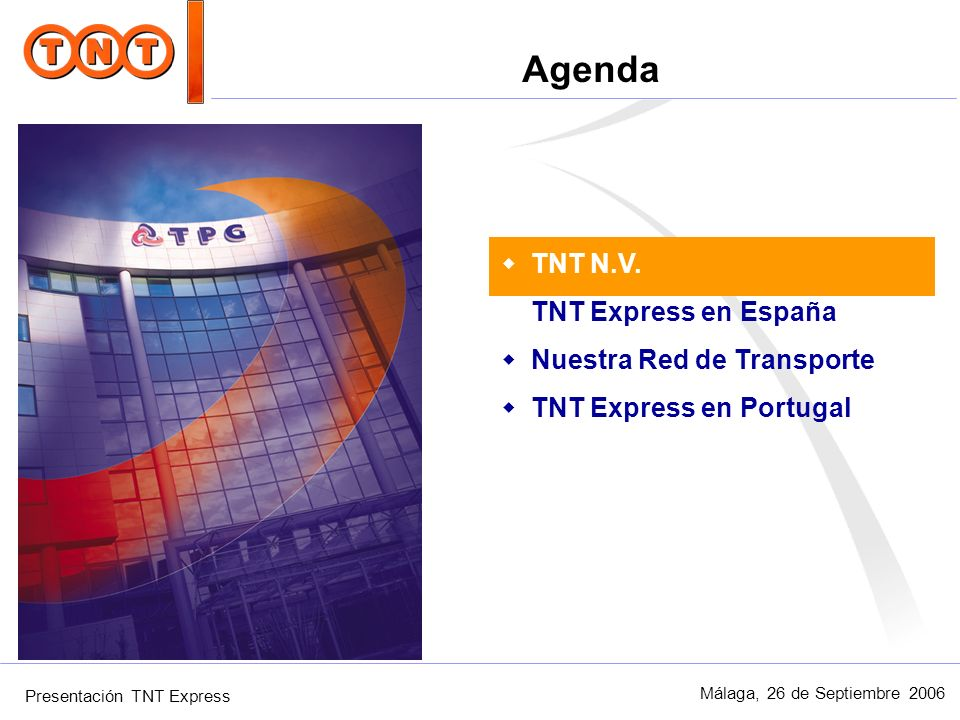 Presentación TNT Express Málaga, 26 de Septiembre 2006 Red terrestre Red Comercial Como el negocio de las telecomunicaciones, el Transporte Urgente se basa en la explotación eficiente y rentables de redes que suponen la principal inversión de la compañía.
