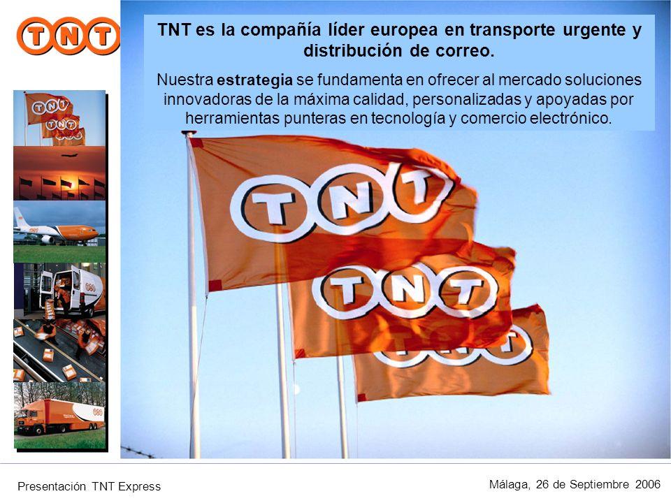 Presentación TNT Express Málaga, 26 de Septiembre 2006 Ninguna compañía entrega vía terrestre en tantos destinos, en tan poco tiempo y con las máximas garantías de rapidez y fiabilidad.