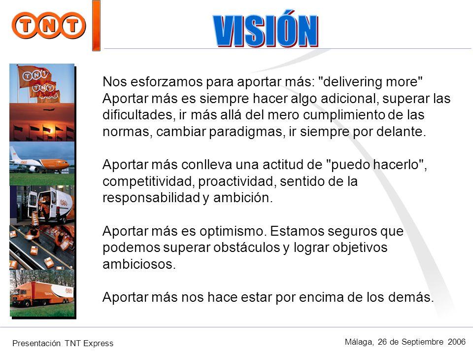 Presentación TNT Express Málaga, 26 de Septiembre 2006 Estos valores representan nuestros compromisos: 1- Objetivo de satisfacer siempre a nuestros clientes.