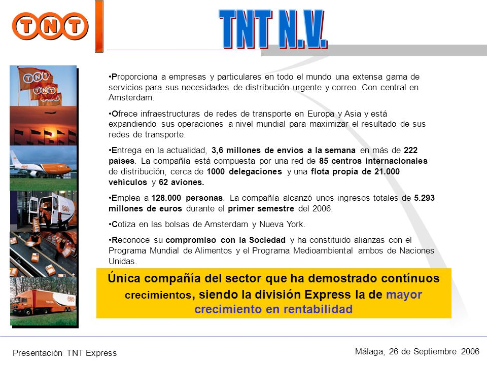 Presentación TNT Express Málaga, 26 de Septiembre 2006 Una de las 10 redes privadas de comunicaciones más extensas 90+ nodos internacionales Cobertura de 220+ paises 800+ Cisco routers en más de 600 localizaciones 27,000 usuarios de la red BT Operador corporativo en Europa Red Mundial de Datos