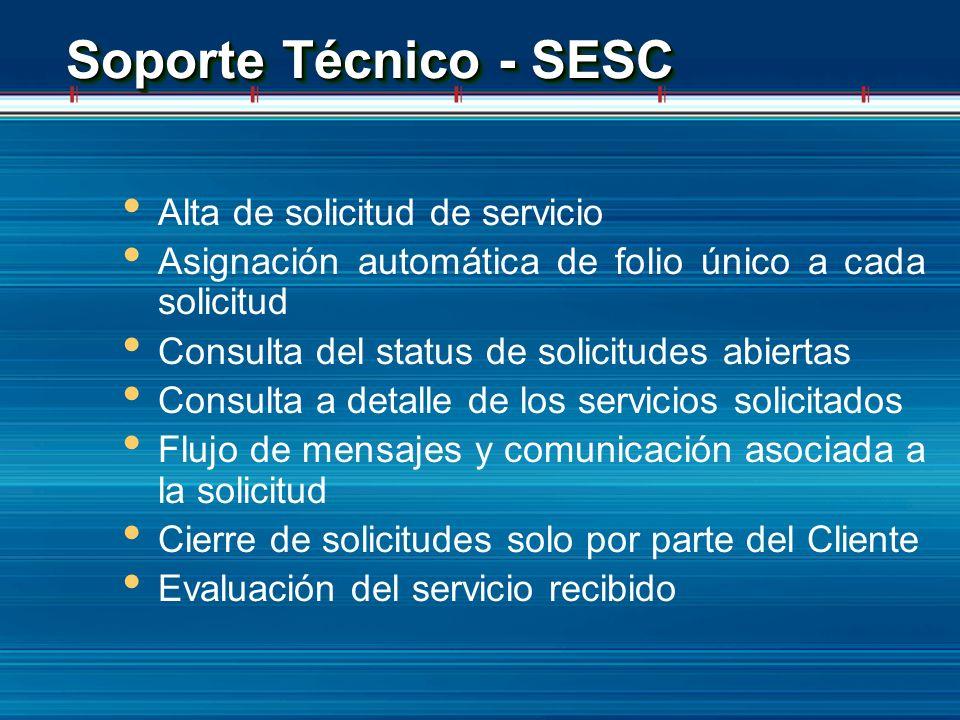 Soporte Técnico - SESC Alta de solicitud de servicio Asignación automática de folio único a cada solicitud Consulta del status de solicitudes abiertas