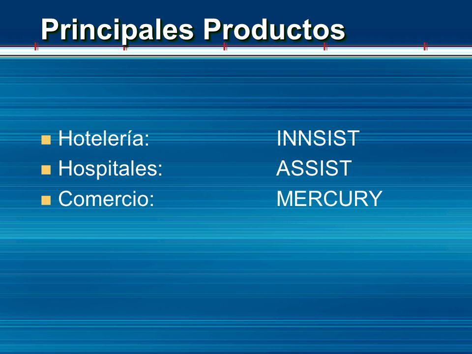 Principales Productos n Hotelería: INNSIST n Hospitales:ASSIST n Comercio:MERCURY