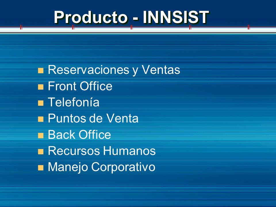 Producto - INNSIST n Reservaciones y Ventas n Front Office n Telefonía n Puntos de Venta n Back Office n Recursos Humanos n Manejo Corporativo