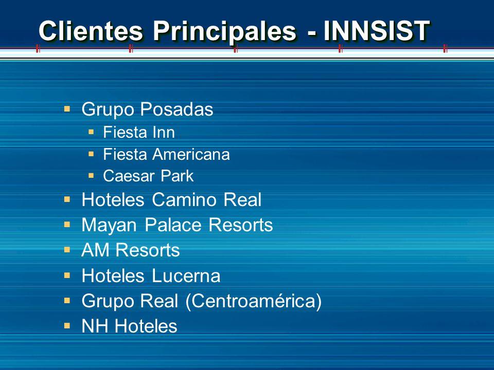 Clientes Principales - INNSIST Grupo Posadas Fiesta Inn Fiesta Americana Caesar Park Hoteles Camino Real Mayan Palace Resorts AM Resorts Hoteles Lucer