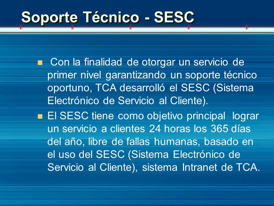 Soporte Técnico - SESC n Con la finalidad de otorgar un servicio de primer nivel garantizando un soporte técnico oportuno, TCA desarrolló el SESC (Sis