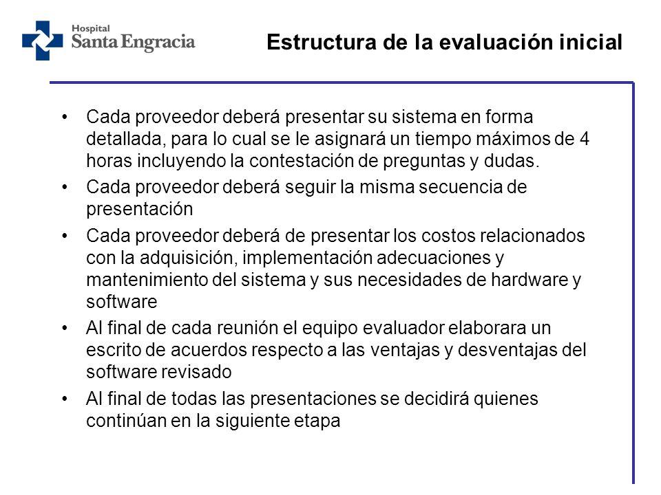 Estructura de la evaluación inicial Cada proveedor deberá presentar su sistema en forma detallada, para lo cual se le asignará un tiempo máximos de 4