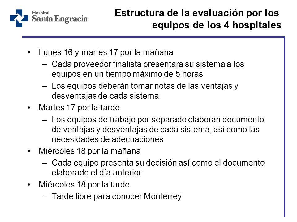 Estructura de la evaluación por los equipos de los 4 hospitales Lunes 16 y martes 17 por la mañana –Cada proveedor finalista presentara su sistema a l