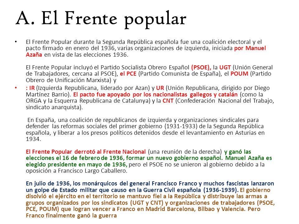 A. El Frente popular El Frente Popular durante la Segunda República española fue una coalición electoral y el pacto firmado en enero del 1936, varias