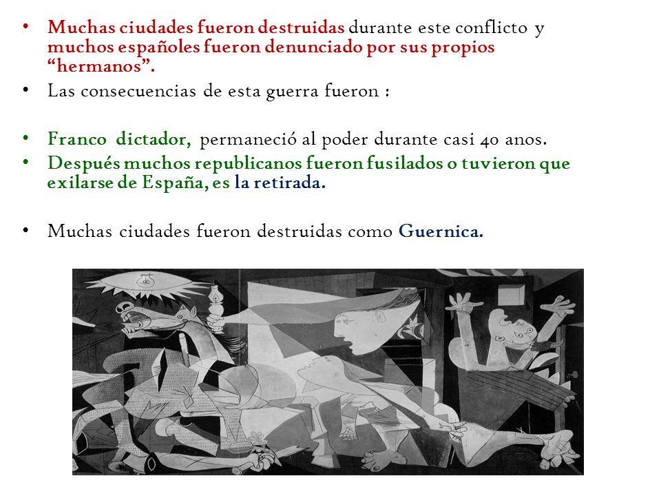 Muchas ciudades fueron destruidas durante este conflicto y muchos españoles fueron denunciado por sus propios hermanos. Las consecuencias de esta guer
