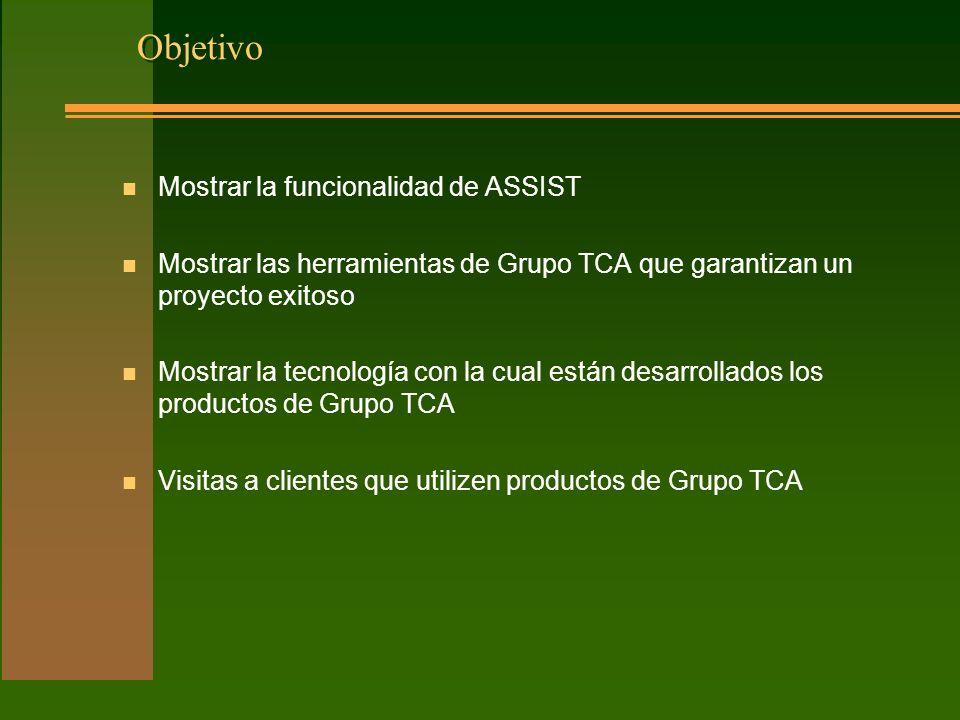 Objetivo n Mostrar la funcionalidad de ASSIST n Mostrar las herramientas de Grupo TCA que garantizan un proyecto exitoso n Mostrar la tecnología con la cual están desarrollados los productos de Grupo TCA n Visitas a clientes que utilizen productos de Grupo TCA