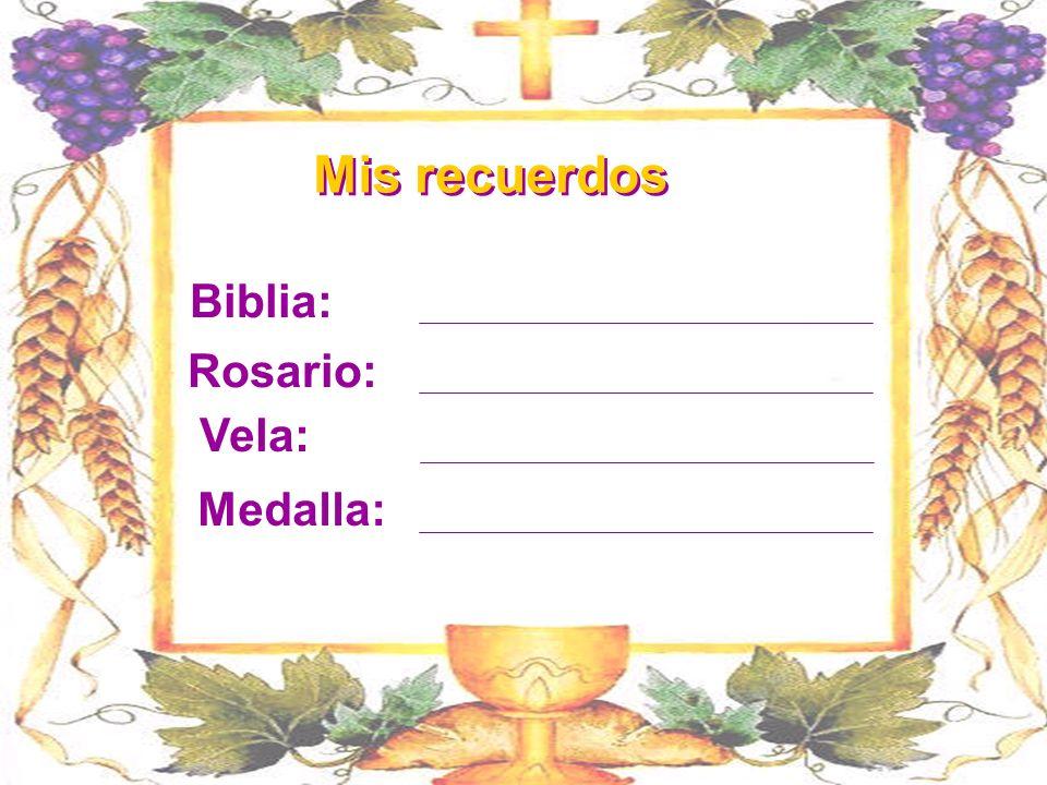 Mis recuerdos Biblia: Rosario: Vela: Medalla: