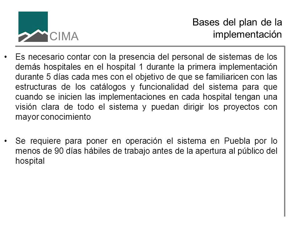 CIMA Bases del plan de la implementación Es necesario contar con la presencia del personal de sistemas de los demás hospitales en el hospital 1 durant