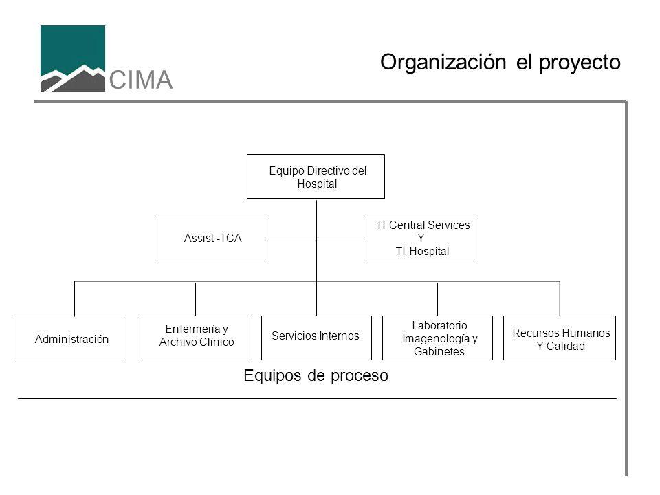 CIMA Organización el proyecto TI Central Services Y TI Hospital Servicios Internos Administración Recursos Humanos Y Calidad Laboratorio Imagenología