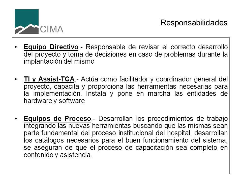 CIMA Responsabilidades Equipo Directivo.- Responsable de revisar el correcto desarrollo del proyecto y toma de decisiones en caso de problemas durante