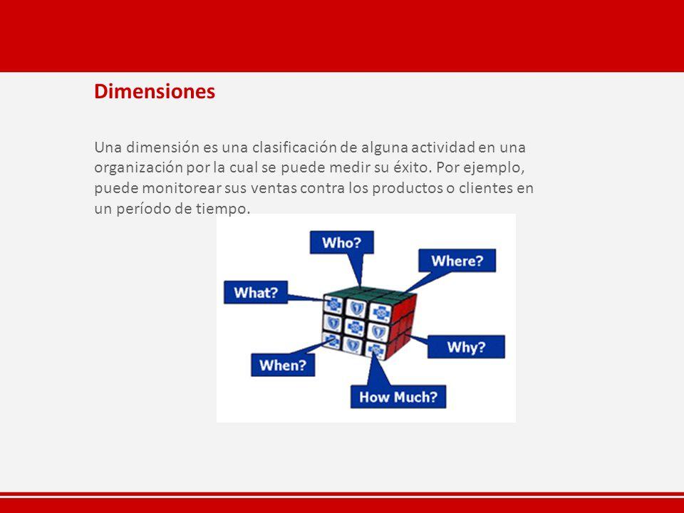 Dimensiones Una dimensión es una clasificación de alguna actividad en una organización por la cual se puede medir su éxito. Por ejemplo, puede monitor