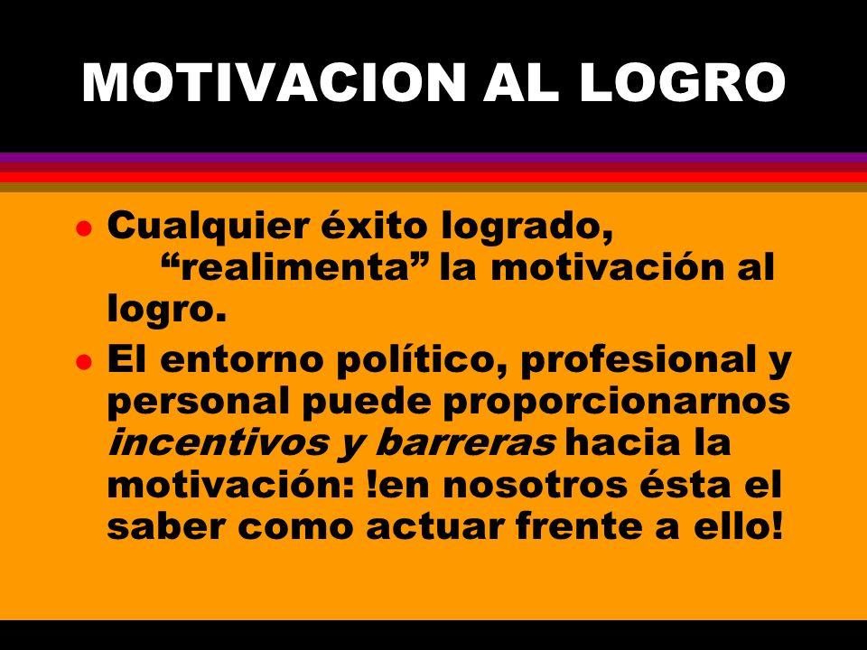 MOTIVACION AL LOGRO l Cualquier éxito logrado, realimenta la motivación al logro. l El entorno político, profesional y personal puede proporcionarnos