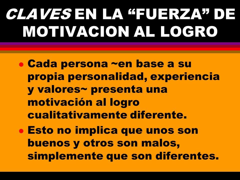 CLAVES EN LA FUERZA DE MOTIVACION AL LOGRO l Cada persona ~en base a su propia personalidad, experiencia y valores~ presenta una motivación al logro c