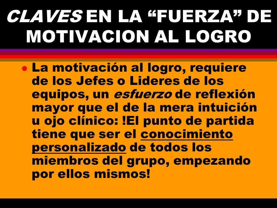 CLAVES EN LA FUERZA DE MOTIVACION AL LOGRO l La motivación al logro, requiere de los Jefes o Lideres de los equipos, un esfuerzo de reflexión mayor qu