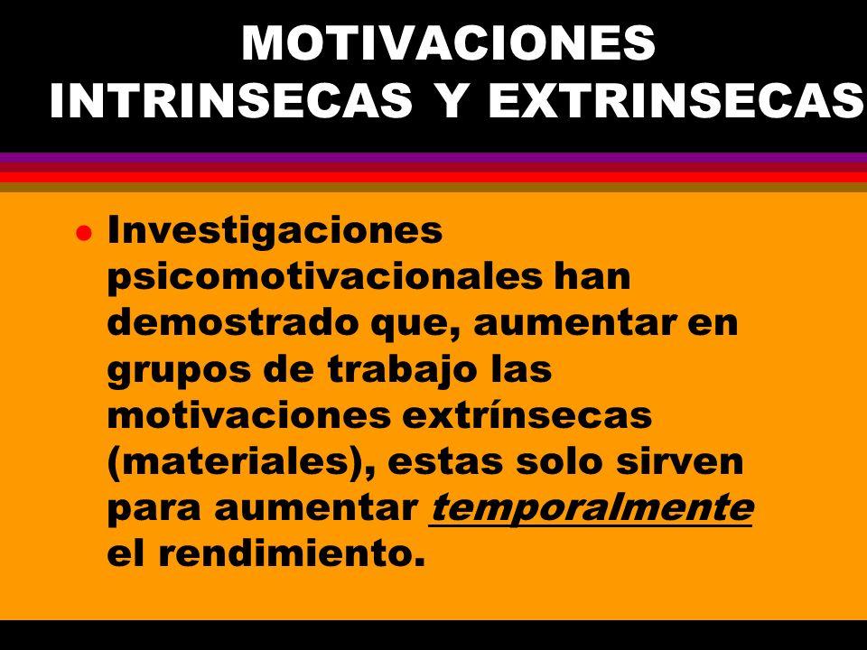 MOTIVACIONES INTRINSECAS Y EXTRINSECAS l Investigaciones psicomotivacionales han demostrado que, aumentar en grupos de trabajo las motivaciones extrín