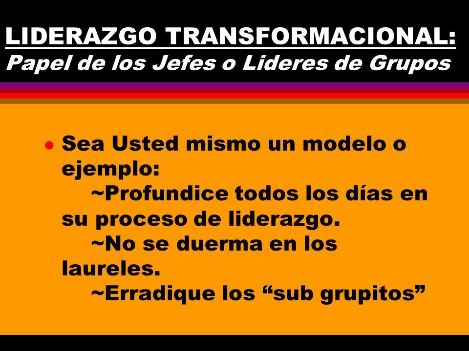 LIDERAZGO TRANSFORMACIONAL: Papel de los Jefes o Lideres de Grupos l Sea Usted mismo un modelo o ejemplo: ~Profundice todos los días en su proceso de