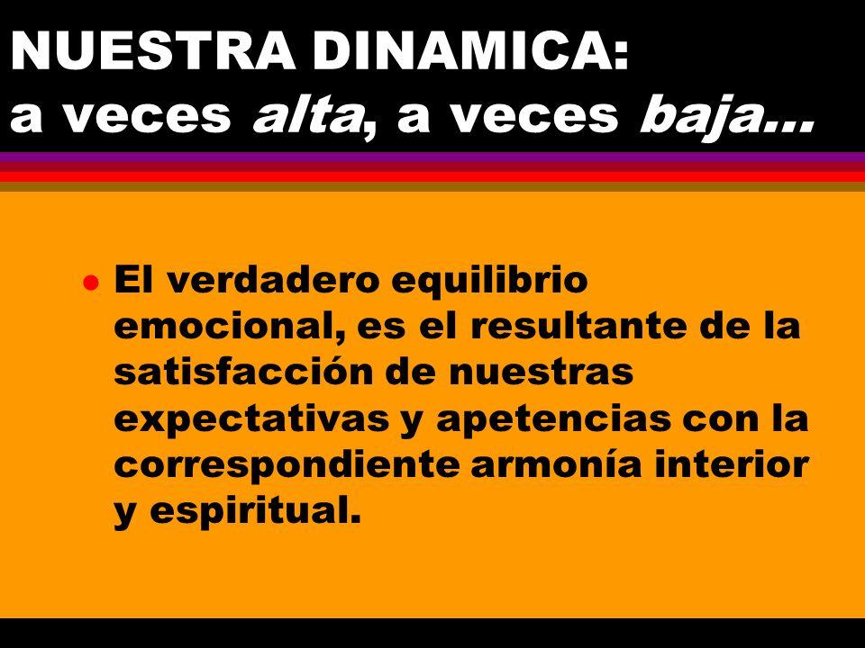NUESTRA DINAMICA: a veces alta, a veces baja... l El verdadero equilibrio emocional, es el resultante de la satisfacción de nuestras expectativas y ap