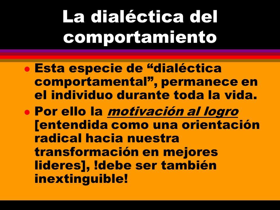 La dialéctica del comportamiento l Esta especie de dialéctica comportamental, permanece en el individuo durante toda la vida. l Por ello la motivación