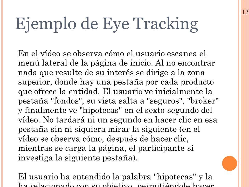 Ejemplo de Eye Tracking En el vídeo se observa cómo el usuario escanea el menú lateral de la página de inicio. Al no encontrar nada que resulte de su