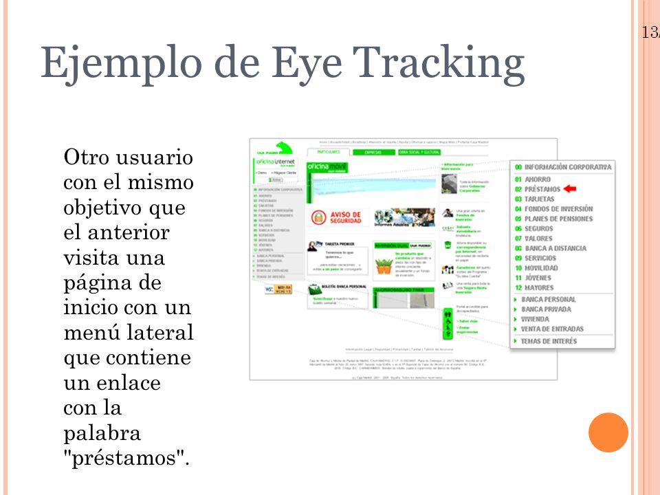 13/01/10 Ejemplo de Eye Tracking Otro usuario con el mismo objetivo que el anterior visita una página de inicio con un menú lateral que contiene un en