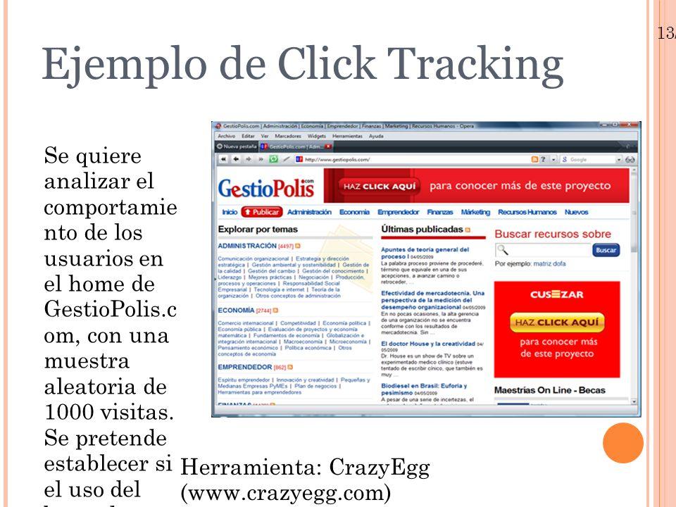 13/01/10 Ejemplo de Click Tracking Se quiere analizar el comportamie nto de los usuarios en el home de GestioPolis.c om, con una muestra aleatoria de