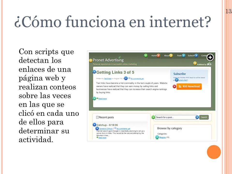 13/01/10 Ejemplo de Click Tracking El buscador interno es la zona más caliente de la página Sobre un total de 265 clics, el buscador interno es utilizado en el 53% de los casos.