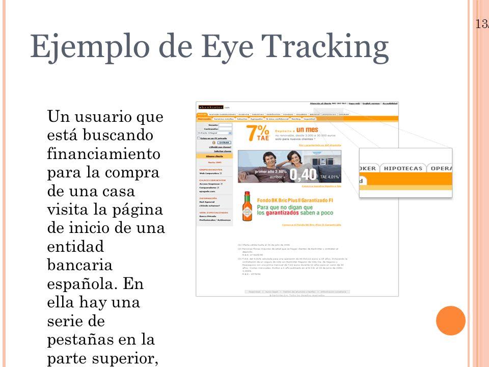 13/01/10 Ejemplo de Eye Tracking Un usuario que está buscando financiamiento para la compra de una casa visita la página de inicio de una entidad banc