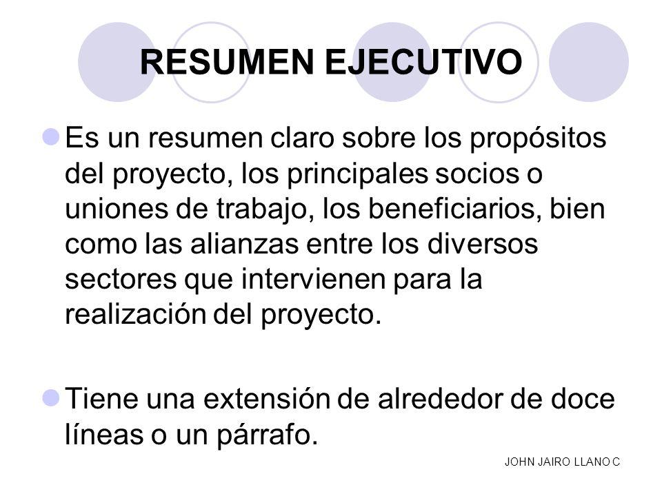 RESUMEN EJECUTIVO Es un resumen claro sobre los propósitos del proyecto, los principales socios o uniones de trabajo, los beneficiarios, bien como las