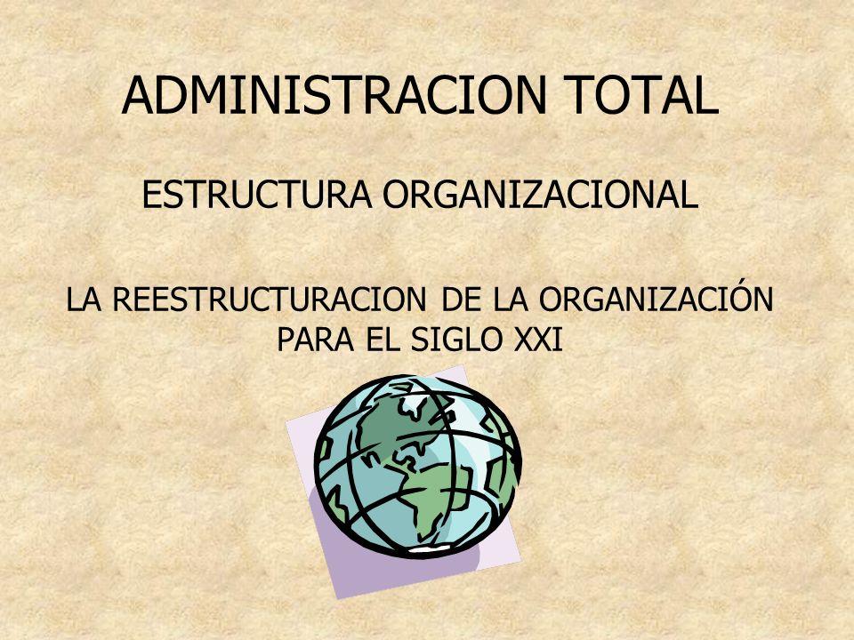ADMINISTRACION TOTAL ESTRUCTURA ORGANIZACIONAL LA REESTRUCTURACION DE LA ORGANIZACIÓN PARA EL SIGLO XXI