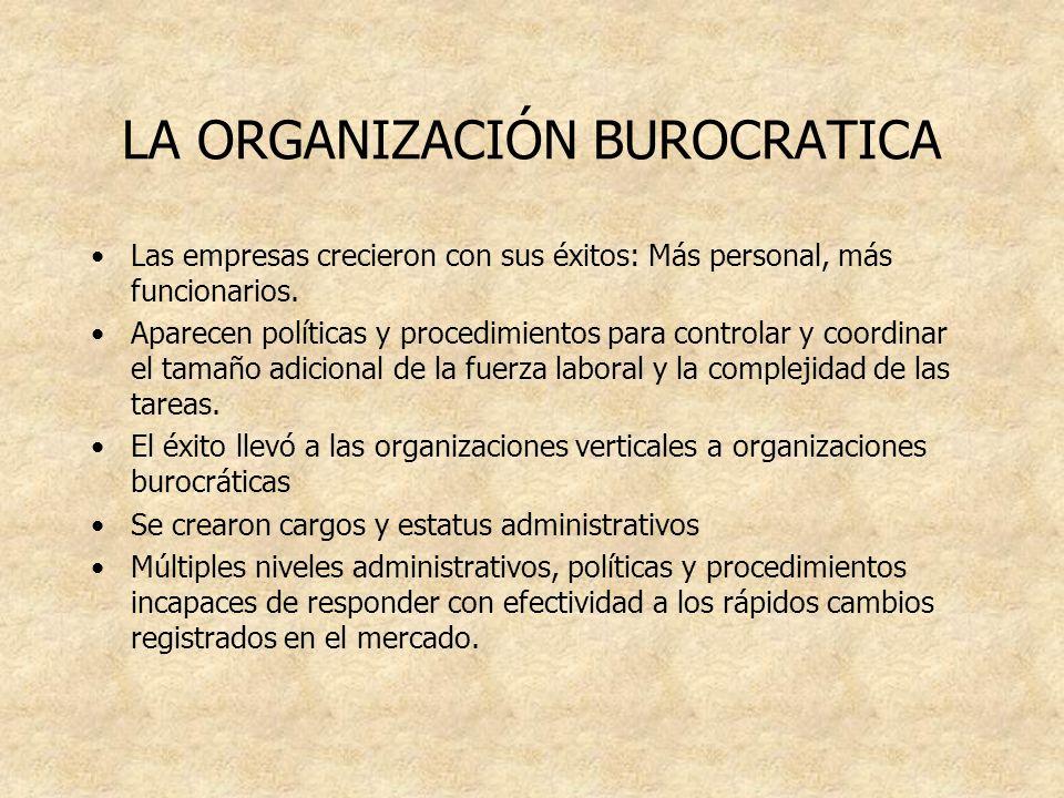 LA ORGANIZACIÓN BUROCRATICA Las empresas crecieron con sus éxitos: Más personal, más funcionarios. Aparecen políticas y procedimientos para controlar
