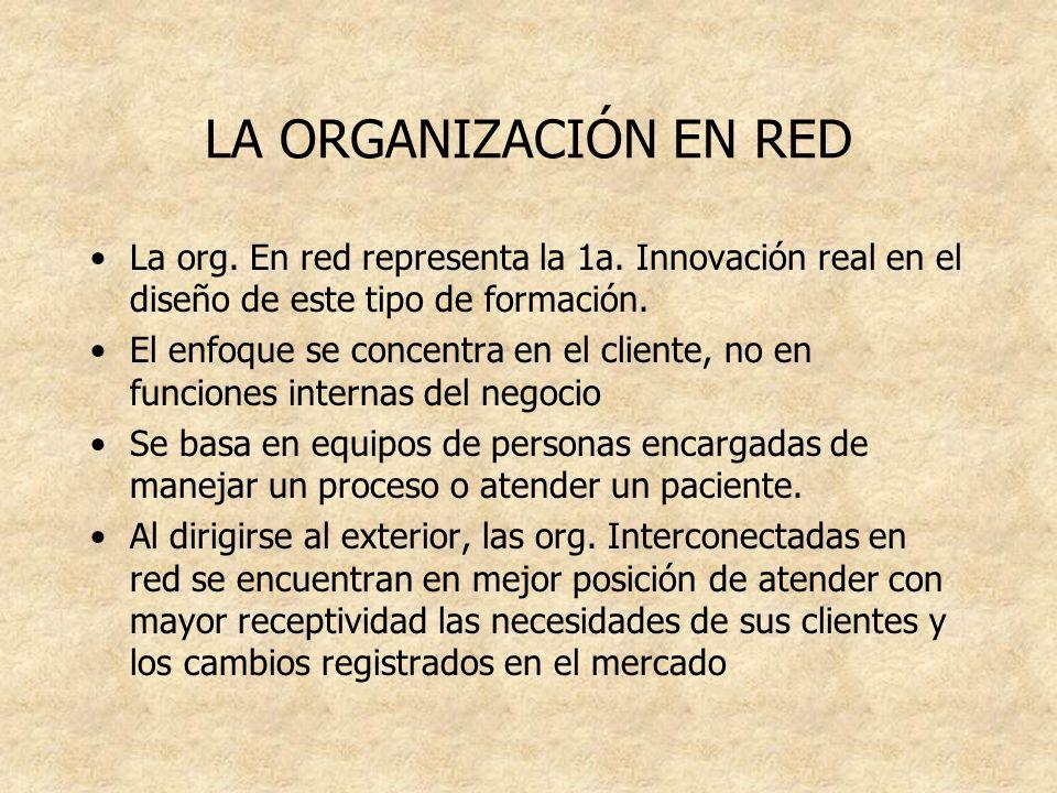 LA ORGANIZACIÓN EN RED La org. En red representa la 1a. Innovación real en el diseño de este tipo de formación. El enfoque se concentra en el cliente,