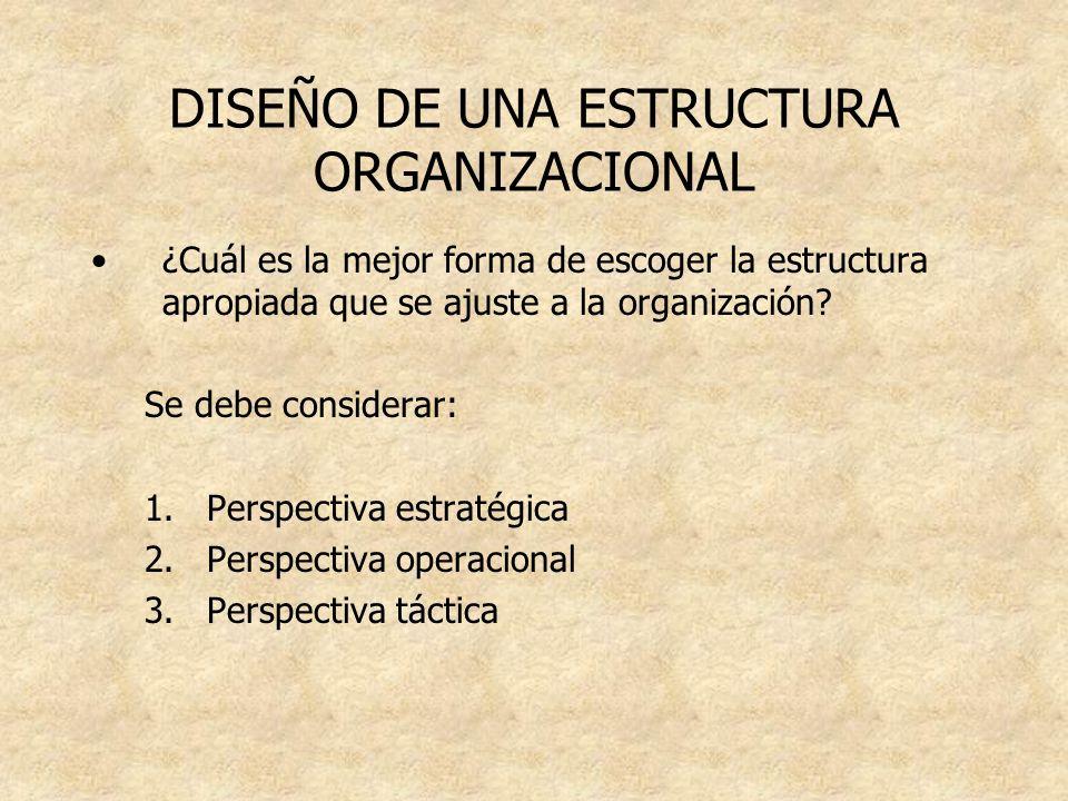 DISEÑO DE UNA ESTRUCTURA ORGANIZACIONAL ¿Cuál es la mejor forma de escoger la estructura apropiada que se ajuste a la organización? Se debe considerar