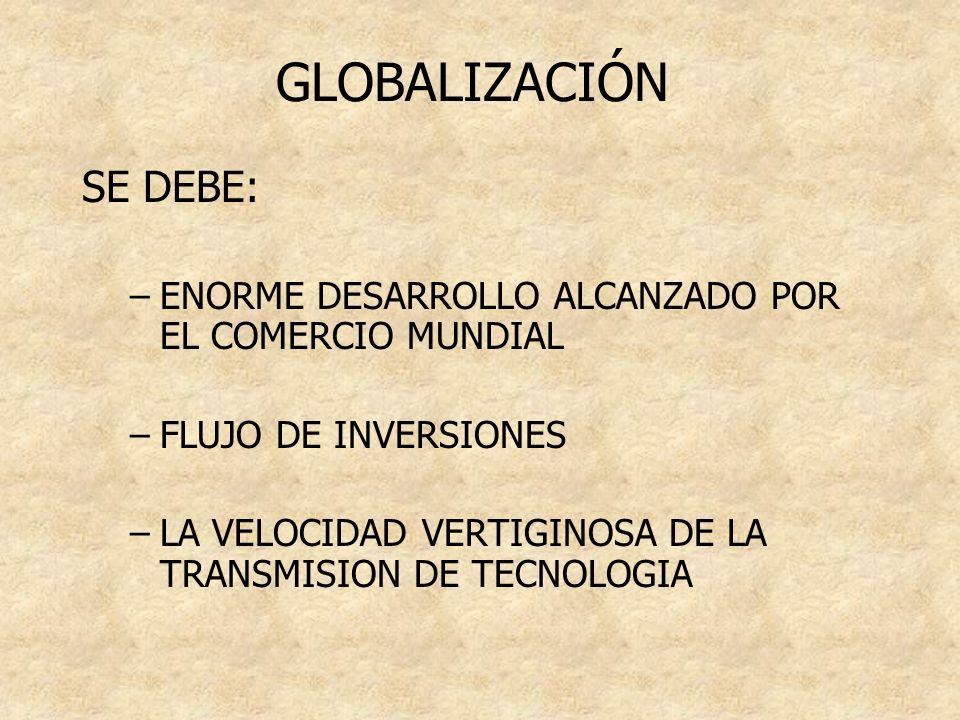 GLOBALIZACIÓN SE DEBE: –ENORME DESARROLLO ALCANZADO POR EL COMERCIO MUNDIAL –FLUJO DE INVERSIONES –LA VELOCIDAD VERTIGINOSA DE LA TRANSMISION DE TECNO